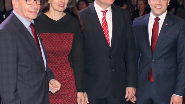 Oberbürgermeister Dirk-Ulrich Mende, Kirsten Lühmann MdB, Ministerpräsident Stephan Weil MdL und SPD-Vorsitzender Maximilian Schmidt MdL beim Neujahrsempfang der SPD im Landkreis Celle